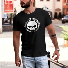 Harley-Davidson skull design 100% Black Cotton T-shirts