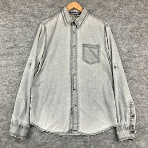Guess Mens Button Up Shirt Size L Large Grey Acid Wash Long Sleeve Collared 1.12