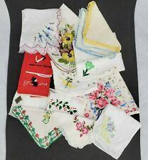 Vtg Floral Womens Handkerchiefs 50's Lot Hankies embroidered Scotties Red Linen