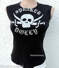 Miss Sixty luxury top camisa 36 38 Pirate Skull calavera Biker Gothic rar