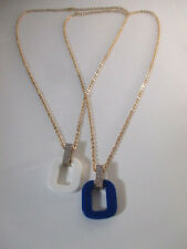 Banan Republic Pave Crystal Knot Pendant Necklace NWOT 59.50 WHITE BLUE SET of 2