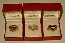 1995 DC Comics Superman FX Con Premium Ring Set Gold Silver & Brass MIB w/ COA