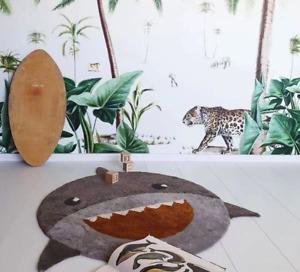 Large Round SHARK Children Nursery Playroom Crawling Floor Rug Kids Room Decor