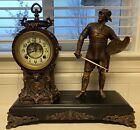 New Haven Statue Antique Clock Key Wind Man Knight Open Escapement Figural 1800s