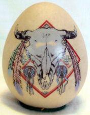 Souvenir Egg Medora N.D. Indian Motif Buffalo Bison Skull Feathers & Leather