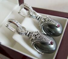 BLACK PEARL EARRINGS HANDMADE RUSSIAN SOLID STERLING SILVER 925