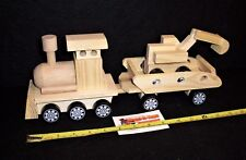 Wooden Toy  Engine with Trailer and Digger