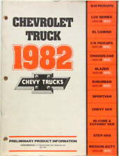 1982 CHEVROLET TRUCK PRELIMINARY PRODUCT INFORMATION EL CAMINO PICKUPS  ANGLAIS