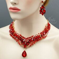 18k Gold Plated Ruby Red Crystal Wedding Necklace Earrings Jewelry Set 09221 New