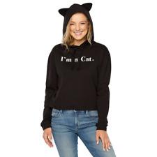 Fifth Sun Women's Juniors Hoodie Size X-Large Black I'm A Cat  Hood has Ears