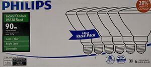 6 PACK Phillips 90-Watt Equiv PAR38 Halogen Indoor/Outdoor Dimmable Flood Bulb