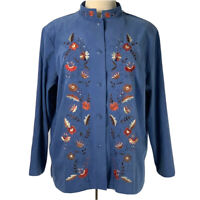 Susan Graver Style Jacket NWT Blue Coat With Floral Embroidery Size 2X