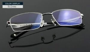 100% Pure Titanium Spectacles Half Rimless Glasses Optical Spring Eyeglass Frame