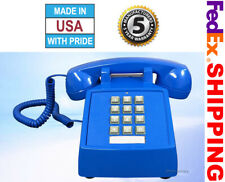 Retro Blue Push Button Corded Basic Desk Phone Telephone Vintage Style New