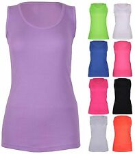 Womens Plain Ribbed Stretch Ladies Sleeveless T-Shirt Vest Tank Top Plus Size