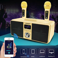 Digital Dual Wireless Microphone Stereo Bluetooth Karaoke Speaker 30W SDRD Gold