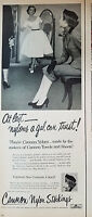 1952 Vintage Womens CANNON NYLON STOCKINGS Hosiery Gal Can Trust Ad