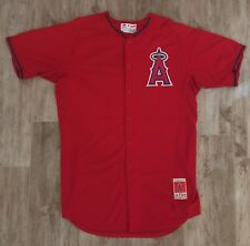 Anaheim Angels Team Issued Majestic MLB Authentic Cool Base Red BP Jersey #17