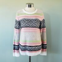 Striped Knit Pullover Sweater by Demanding Women's Size M White Pink Black Green