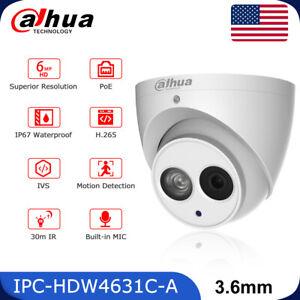 Dahua 6MP Dome Security IP Camera IPC-HDW4631C-A Built-in MIC IR POE Metal 3.6mm