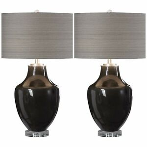 TWO MODER HIGH GLOSS CERAMIC TABLE LAMP LINEN SHADE CRYSTAL BASE SILVER METAL