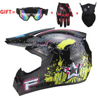Bright Black Motorcross Dirt Bike ATV Off Road MTB Motorcycle Helmet Racing