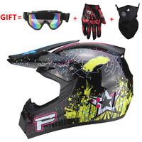 Bright Black Motorcross Dirt Bike ATV Off Road MTB Motorcycle Helmet Racing
