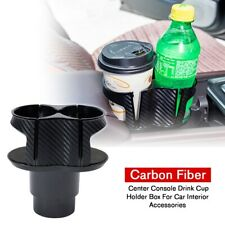Black Carbon Fiber Center Console Drink Cup Holder For Car Interior Accessories