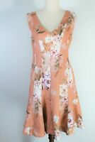 Portmans sleeveless linen floral knee length dress - as new 12 FREE POST