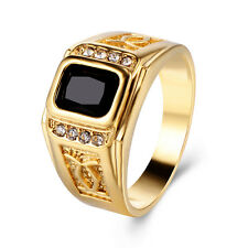 Mens Black crystal Yellow Gold Plated High School Ring Size 10 Punk