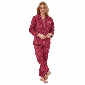 Ladies 100% Brushed Cotton 'Ruby Heart'  Pyjamas Nightwear/Loungewear