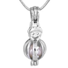 Cute Snowman Silver Cage Pendant,For Akoya Oyster Pearl 20 Inches Chain Gift