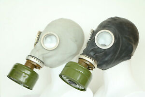 Set of two Authentic Soviet Russian Gas MASK GP-5 with FILTERS exotic gray black