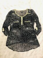 Bobeau Nordstrom Womens Black Stars Print Sheer High-Low Top Blouse Size Small