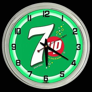 "16"" 7UP Green with Bubbles Sign Green Neon Clock Man Cave Garage Bar 7 UP"