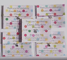 Baby Shower bracelets , Friendship / wish bracelet, girl, boy, Polka Dot Card
