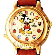 Mickey Mouse Disney Lorus Flag Musical Plays Its A Small World Unworn Watch $125
