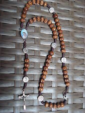 Catholic ROSARY from Medjugorje  St.Benedict WOOD NECKLACE+Gift holy Card