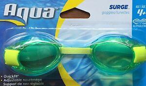 NEW AQUA Surge Goggles Age 4+ Light Blue with Green/golden Alphalens