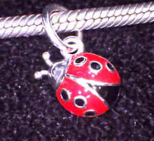 UNBRANDED 925 SILVER DANGLE RED & BLACK ENAMEL LADYBUG EUROPEAN BEAD CHARM