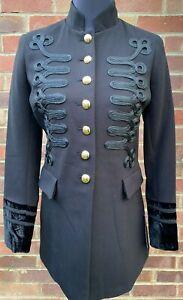 Star by Julien Macdonald Women's Black Military Velvet Cuff Jacket Coat All Size