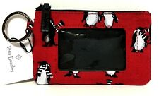 Vera Bradley ZIP ID CASE PLAYFUL PENGUINS Red Coin Purse Wallet NWT