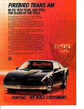 1984 PONTIAC FIREBIRD TRANS AM / 5.0 LITER HIGH OUTPUT V-8 ~ ORIGINAL PRINT AD
