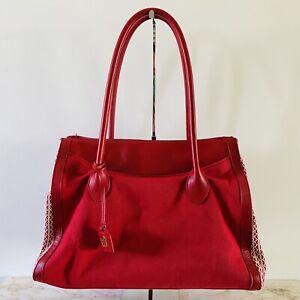 TORY BURCH 'Savannah' Print Red Canvas Tote Bag