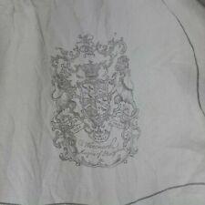 Restoration Hardware Wentworth Crest Duvet Cover Queen Gray 100% linen
