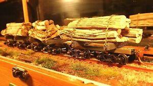 HO Skeleton Log Car Kit: makes 6 x 29' cars with wheels, couplings, brake detail