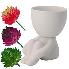 Ceramic Succulent Pot with 3 Artificial Succulent Plants Creative Human Shaped