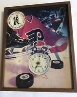 Philadelphia Flyers NHL Picture Framed Bernie Parent Sticker Clock As-Is Vintage