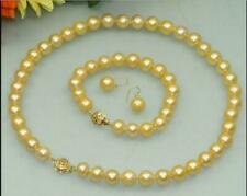 """SET OF 18"""" 8-9MM AAA GENUINE Gold South Sea PEARL NECKLACE &BRACELET 14K Gold"""