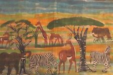 Africa Wildlife Painting / Natural Dye. Zebra, Elephants,Gazelles.Go On Safari